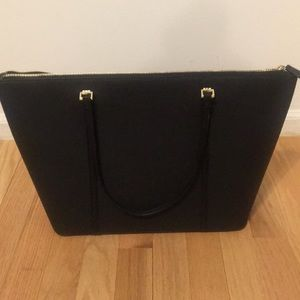 Black feux leather bag